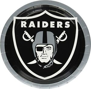LAS VEGAS RAIDERS 8 per pack 9 Inch Party Plates NEW !