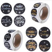 500PCS/Roll Merry Christmas Round 1 inch Black Gilt Xmas Decoration Stickers st