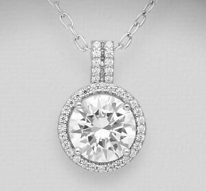 Clear CZ Halo Pendant - 925 Sterling Silver - April Birthstone Birthday Gift