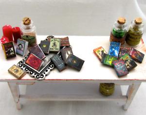 "1:24 Scale 17 HARRY POTTER HOGWARTS BOOKS Miniature Prop Faux Books Magic 1/2"""