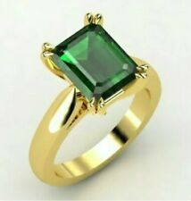 7ct Emerald Cut Emerald 18K Gold Plated Wedding Engagement Ring Vintage Band