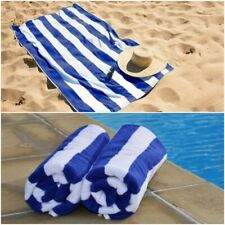 Stripe Large 100% Cotton Blue White Pool Towel Quick Dry Beach Towel Bath Sheet