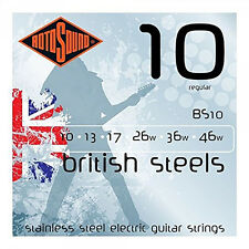 Rotosound BS10 British Steels Regular Electric Guitar Strings (10-46) +Picks