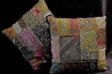 2 ACCENT PILLOWS: SHAMS + INSERTS- Embroidered Patchwork w/Beads, Sequins, Glass