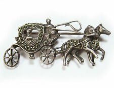 Vintage 1930's Sterling Horse Drawn Carriage Brooch