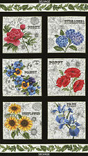 """Timeless Treasures Garden Journal Squares 100% cotton fabric by the Panel 24"""""""
