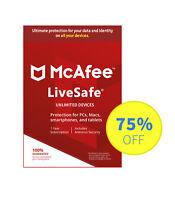 McAfee Livesafe 2018 für Windows / Android / ios - Schutz auf allen Geräten -Key