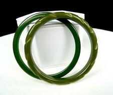 """BAKELITE AUTHENTIC 2 PC OLIVE GREEN 3"""" PLAIN & CARVED BANGLES TESTED 1920-1950"""