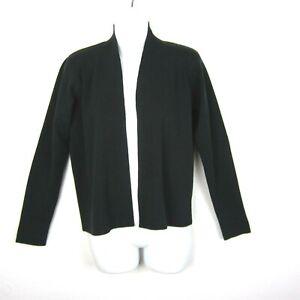 Eileen Fisher Womens Size PP Black Cardigan Open Front Sweater 100% Wool