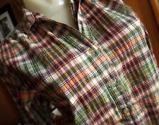 Medium True Vtg 70s Tomboy Sparky Thread green/purple Plaid Boho/Hippy thin Top