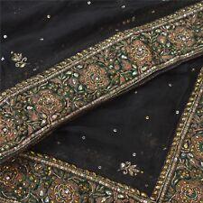 Sanskriti Vintage Dupatta Long Stole Chiffon Silk Black Hand Beaded Wrap Veil