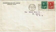New ListingCanada 1919 Edmonton cancel on cover for Johnstone Walker Ltd, war savings label
