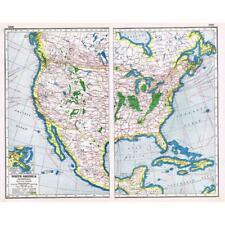 Antique Map 1920 - NORTH AMERICA Industrial - Harmsworth Atlas