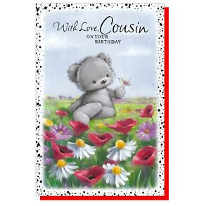 """Cousin Birthday Card - Bear Flowers Girl Female Women - 7.5""""x5"""" SIMON ELVIN"""