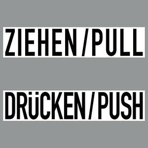 2 Aufkleber 20cm Sticker ZIEHEN + DRÜCKEN Hinweis zum Öffnen Tür 4061963018040