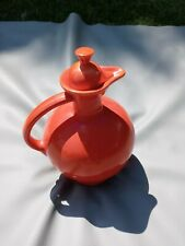 Vintage Fiestaware Fiesta Red Orange Radioactive Red Carafe Pitcher 10in w/ Lid