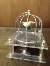 Japan Mechanical Wind-Up Bird in Cage Music Box Lucite Sankyo Works Vintage