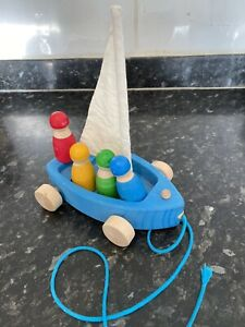 Grimms Wooden Land Yacht Sailing Boat And People Montessori Toy