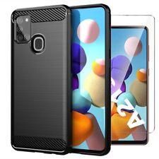 Para Samsung Galaxy A21s Funda Cubierta de fibra de carbono & Vidrio Protector de pantalla
