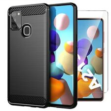 For Samsung Galaxy A21s Case Carbon Fibre Cover & Glass Screen Protector