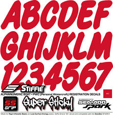 STIFFIE Whipline Solid WLS07-SS Spark Registration Numbers Decals RED BLACK
