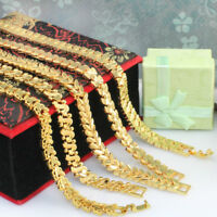 24k Gold Filled Pattern Chain Link Bracelet - 18 cm