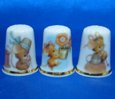 Birchcroft China Thimbles -- Set of Three -- Thimble Mice