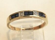 14k Gold Sapphire and Diamond Wedding Anniversary Eternity  Band