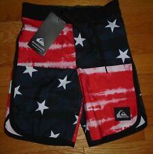Quiksilver Boys Board Shorts Swim Trunks Unlined Stars & Stripes 4 4T NWT