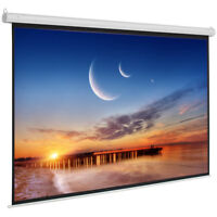 """92"""" 16:9 HD Foldable Electric Motorized Projector Screen +Remote drop/rise White"""