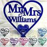 Heart Wedding Cake Topper Personalised Mr & Mrs Swirl Decoration Heart Keepsake