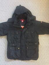 WELLENSTEYN Mens Winter Motoro Rescue Black Hooded Parka Jacket Sz L