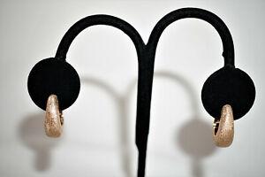 18k Rose Gold Stippled Hoop Earrings, 8.5g