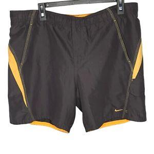Nike Men's Swim Shorts Gray/Orange Mesh Liner Waist Cord Medium