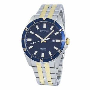 Citizen Men's Quartz Two Tone Stainless Steel Blue Dial Watch BI5054-53L NEW