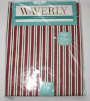 "Waverly Fabric Tablecloth Cotton Striped Red White Green 60 52 70 84"" XMAS NEW"
