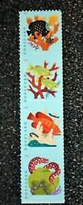 2019USA #5363-5366 35c Postcard Rate - Coral Reefs - Vertical Strip 4 From Sheet