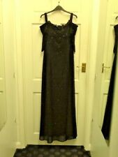 Attire Evening long dress ball gown Sequin dress black with sleeves size 14 BNWT