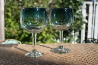 Pair Hand Blown Mexican Blue Green Rim Wine Glass Goblets Stem
