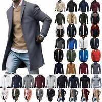 Mens Winter Wool Trench Coat Long Jacket Zipper Cardigan Parka Casual Outerwear