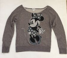 BNWT Disney Parks Minnie Mouse Ladies Long Sleeve Sweatshirt Top Sz Large Gray