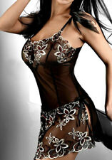 SEXY LINGERIE Black Embroidery Dress Lady Print Transparent Nightwear