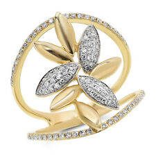 Cocktail Floral Leaf Right Hand Ring Wide 14K Yellow Gold Pave Round Diamond