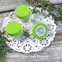 36  1 tablespooon 1/2oz sized Plastic Jars CUSTOM Lime Green CAPS DecoJars #3803