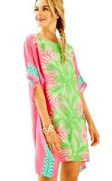 Lilly Pulitzer NWT SZ L/XL JULIE SILK CAFTAN TIKI PINK PALM PLACE
