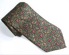 Franco Baretta OLIVE GREEN RED Dark NECK TIE 100% SILK  Mens Necktie USA