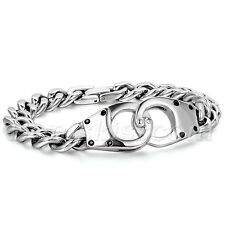 Handcuff Cuban Curb Bracelet Link Chain Men's Silver Tone Stainless Steel Double
