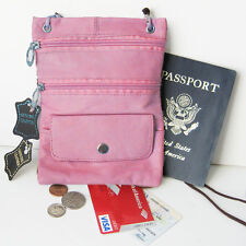 PINK PASSPORT Men Lady Leather ID Card Holder Adjustable Neck Pouch Travel Bag