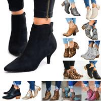 Women Leopard Snakeskin Ankle Boots Pointed Toe Low Mid Block Heel Shoes Winter