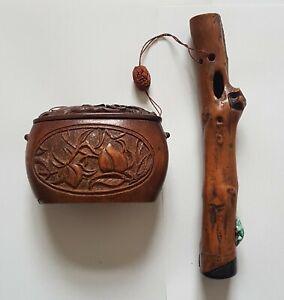 Antique Japanese Tonkotsu & Kiseru-zutsu pipe holder Ojime Sagemono